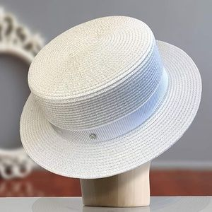 New! straw boater casual hat , Hand made!